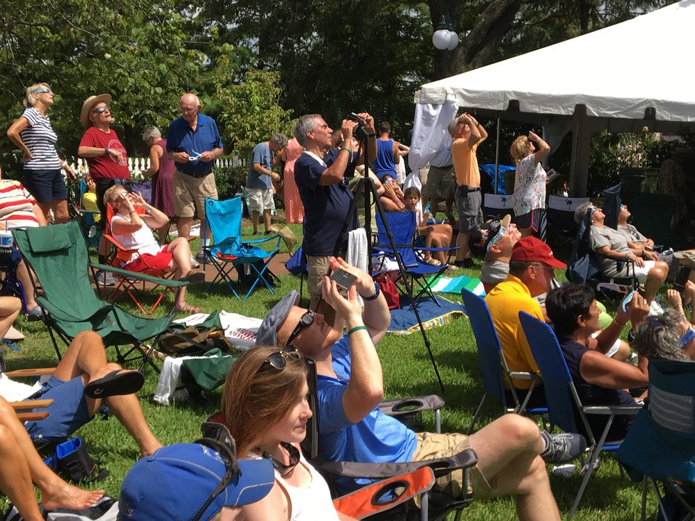 Eclipse watchers at the Kaminski House Museum in Georgetown, SC.   Photo: Robin Gabriel