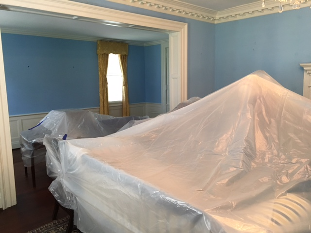 Kaminski House Drawing Room awaiting Hurricane Irma