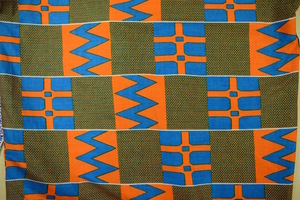 Orange Blue Kente Print