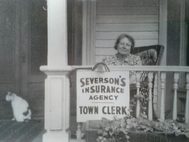 Fannie Severson on the porch of the original Maple Ave. Location. Just a few doors down from our current location.