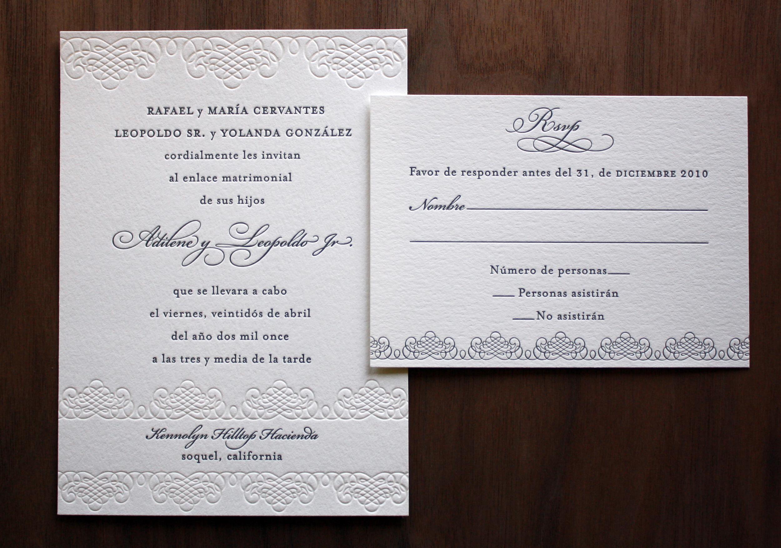 Spanish Language Wedding Invitation — Paper Monkey Press