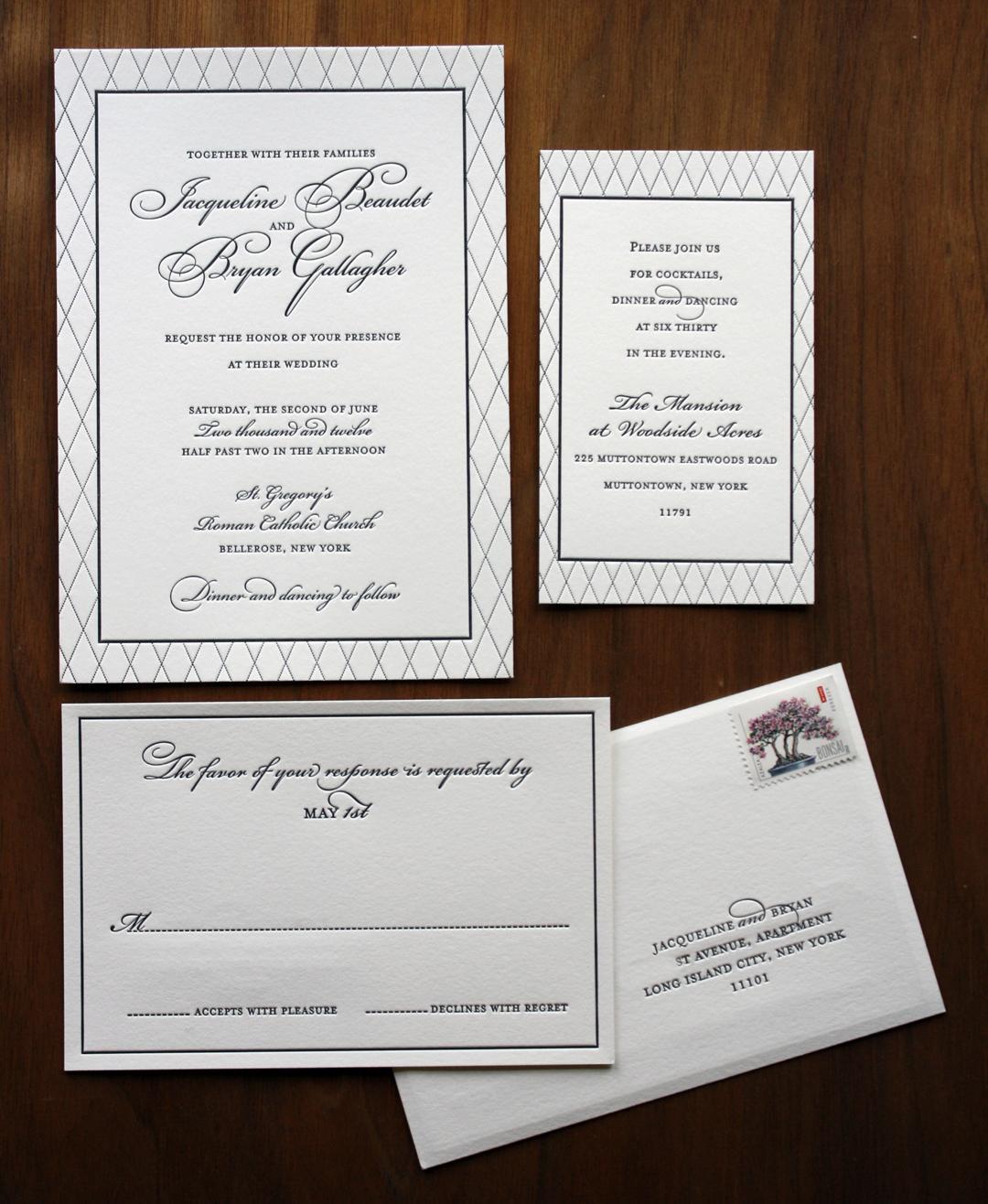 traditional and elegant black and white wedding invitation set
