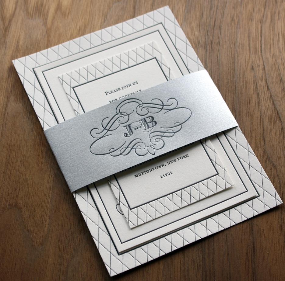 Traditional and elegant black and white wedding invitation set ...