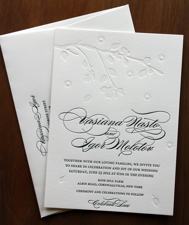 Vasiana and Igor\'s black and blind wedding invitation set — Paper ...