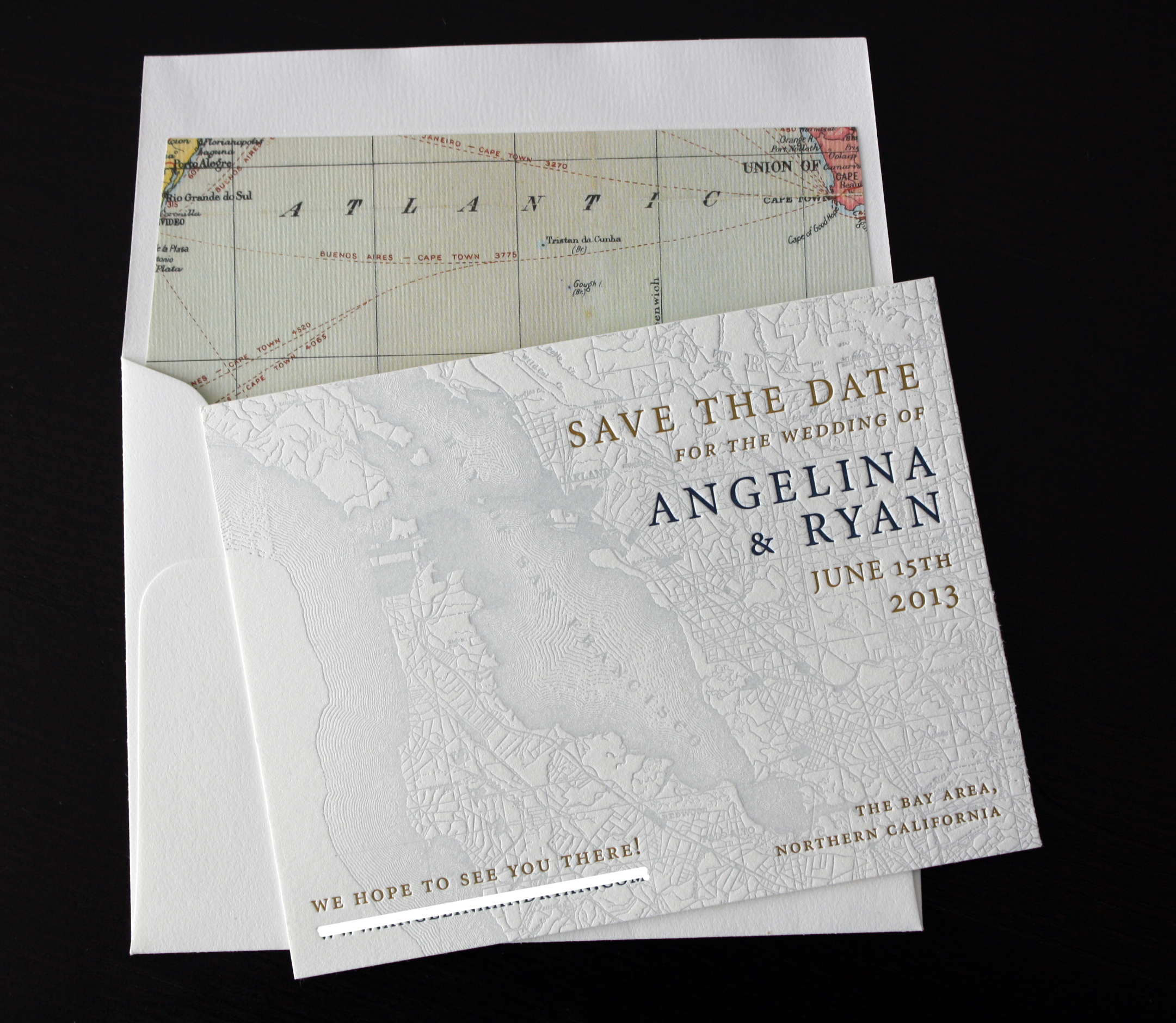 Vintage Map Save the Date — Paper Monkey Press