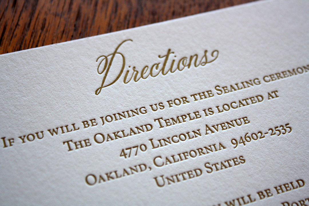 Letterpress Direction Card