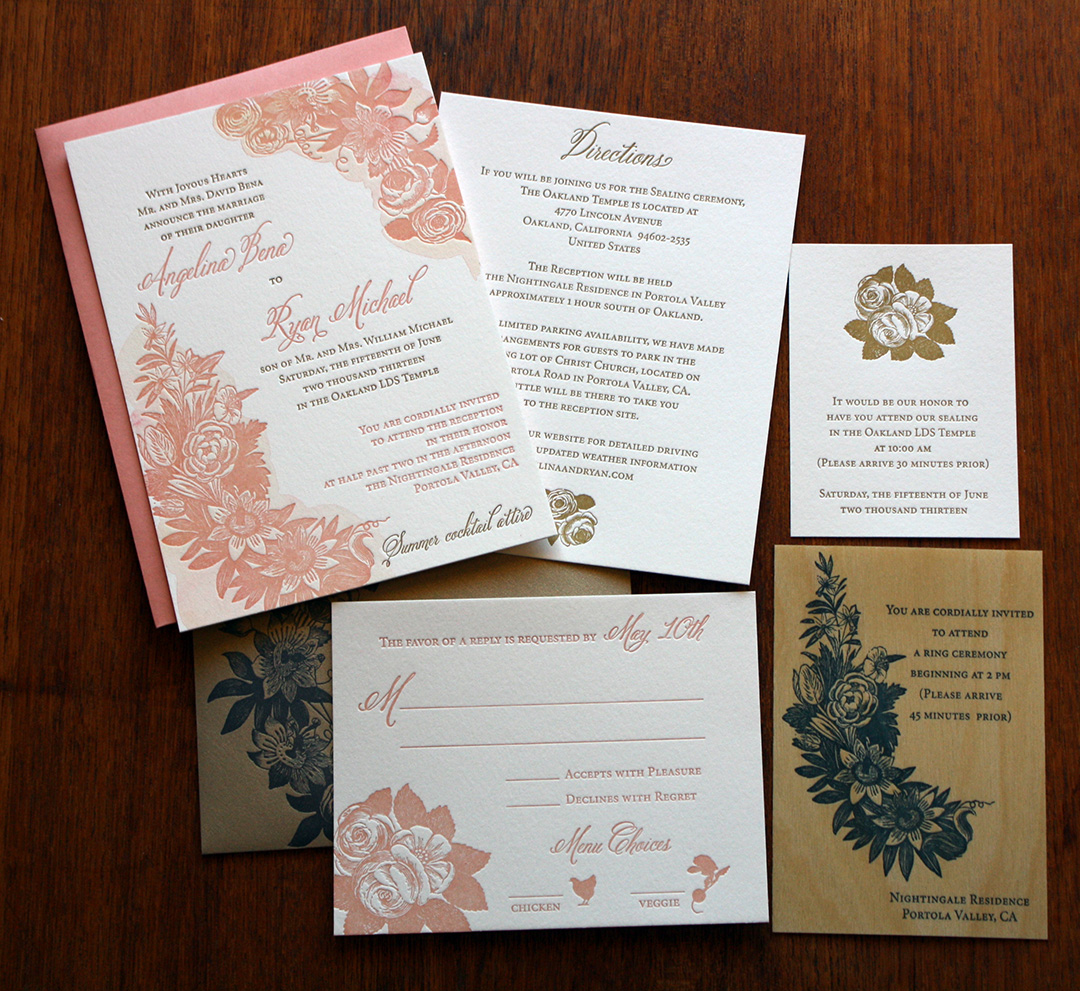 letterpress Mormon wedding set