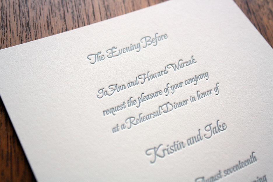 letterpress rehearsal dinner