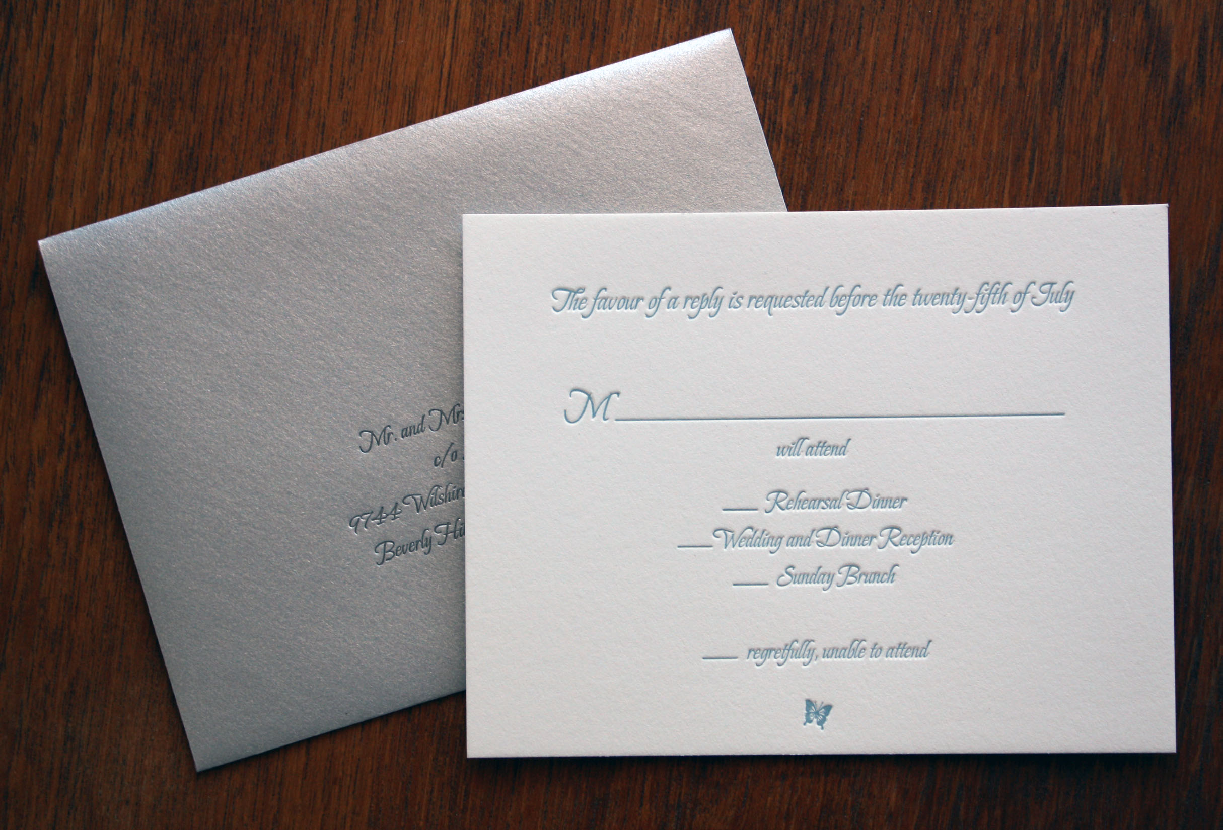 letterpress RSVP card and envelope