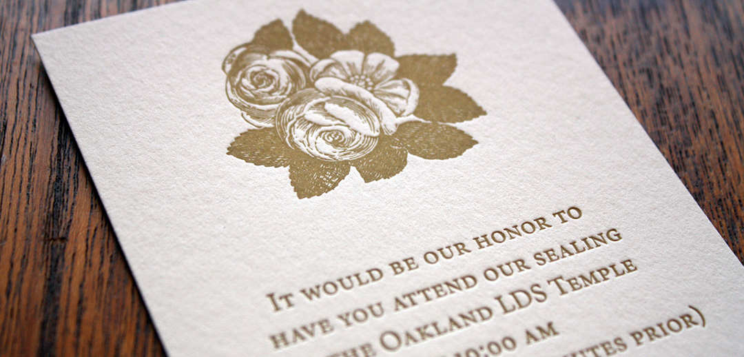 letterpress printed floral with watercolor lds wedding