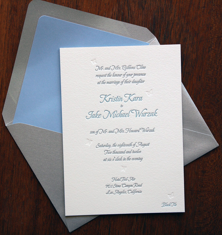 lined envelope and letterpress invitation