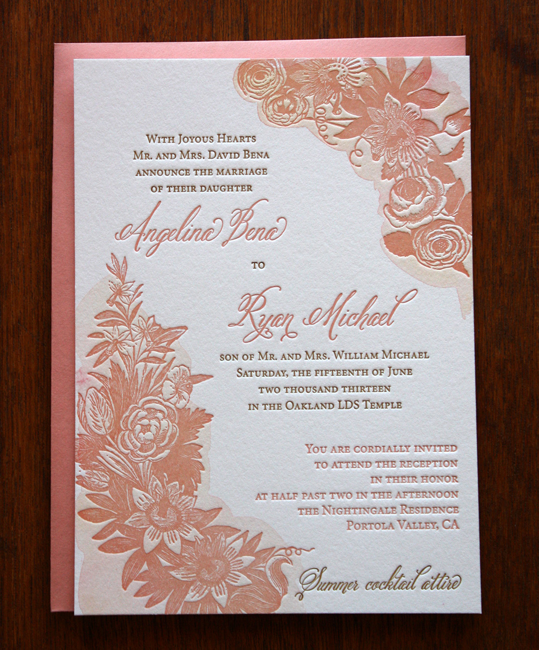Letterpress printed floral with watercolor LDS wedding invitation