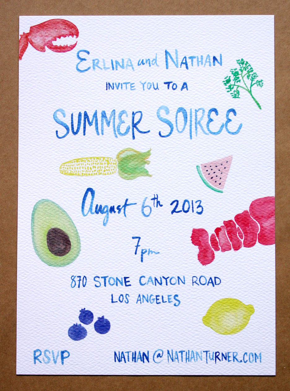 Watercolored summer party invitation menu bar card and place cards lobster dinner party included below are a few close ups of the actual watercolors before they were scanned and printed so many words were painted stopboris Image collections