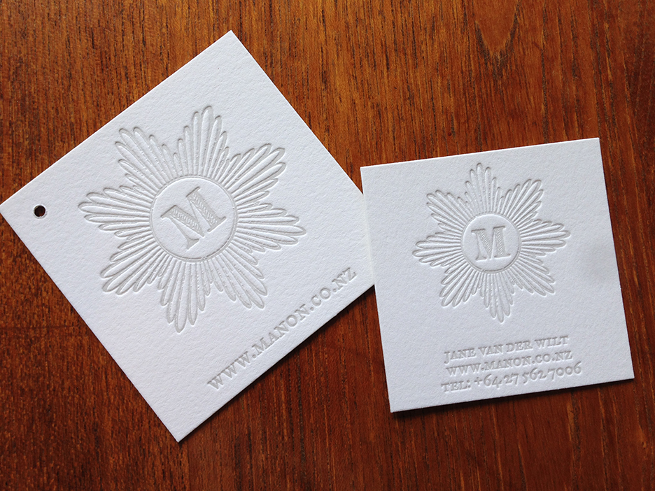letterpress printed tag and business card