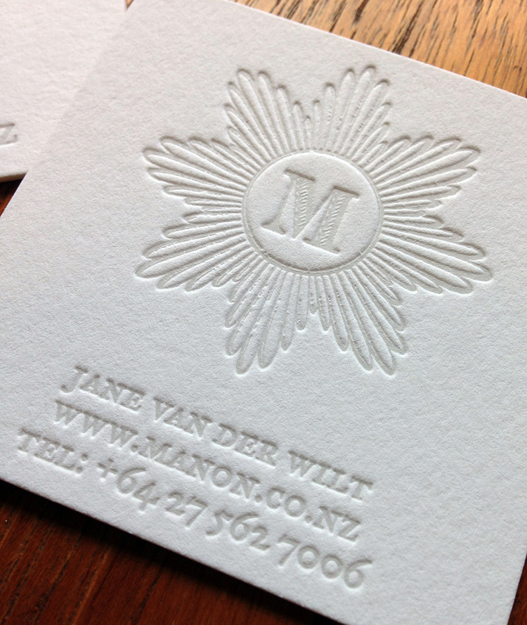 Letterpress printed business cards and tags paper monkey press light grey letterpress business card reheart Choice Image