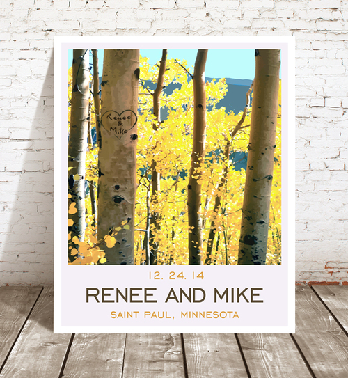Personalized Wall Art - Unique Wedding Gift - Rustic Wedding - Paper ...