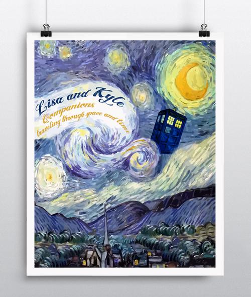 Doctor Who Poster Van Gogh - Doctor Who Wedding Gift - Doctor Who Gift
