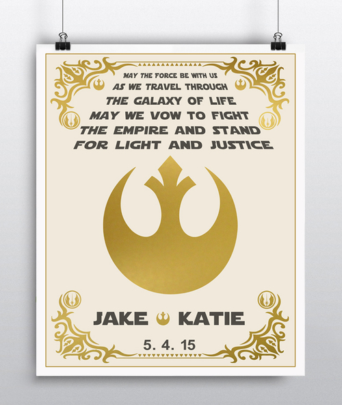 Star wars wedding vows personalized art junglespirit Choice Image
