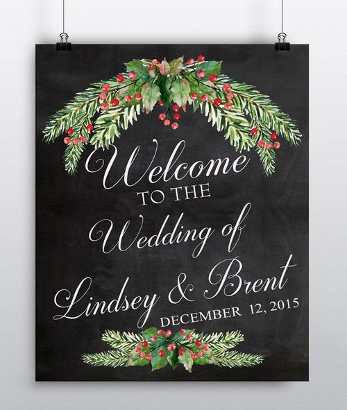 Personalized Wall Art winter wedding decor - chalkboard wedding sign - wedding rustic