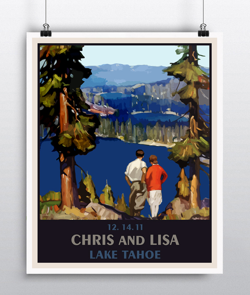 custom wedding gift personalized lake tahoe wedding poster wedding present unique wedding gift art deco wedding vintage travel