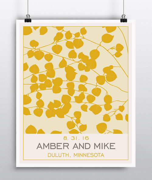 Personalized Wedding Decor - Aspen Leaf Wall Art - Anniversary Gift ...