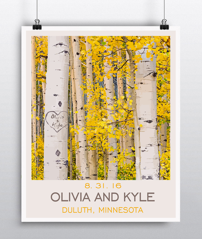 Aspen/Birch Tree Personalized Wall Art   Unique Wedding Gift   Rustic  Wedding   Couples Gift   Anniversary Gift Paper