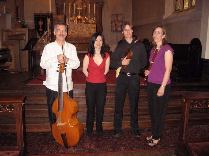 Webster Williams (gamba), Nancy Kito (harpsichord), Aaron Brown (violin), Susan Graham, (flute)