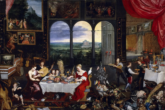 """Allegory of Touch, Hearing, & Taste"" by Jan Brueghel the Elder [c.1617/1618]"