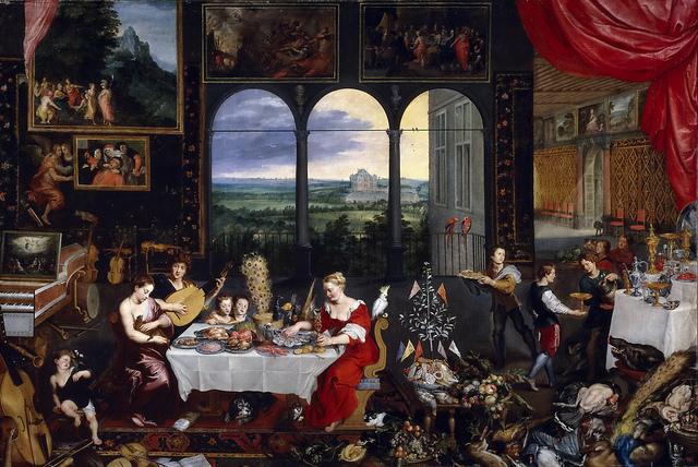 """Allegory of Touch, Hearing, & Taste"" by Jan Brueghel the Elder [c.1617/1618]"