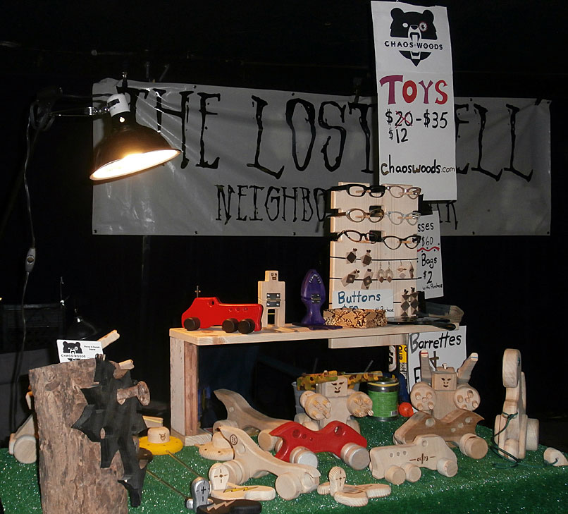 Our booth set up at the Lost Well Monthly Punk Rock Art Market. We sell vintage eye wear also.