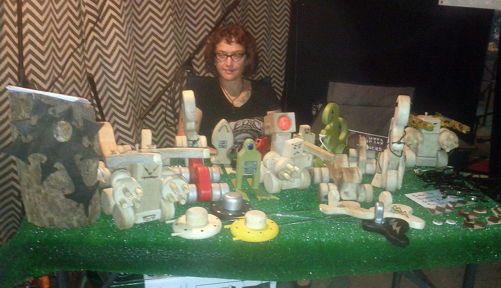 Set up at thepunk rock art market.