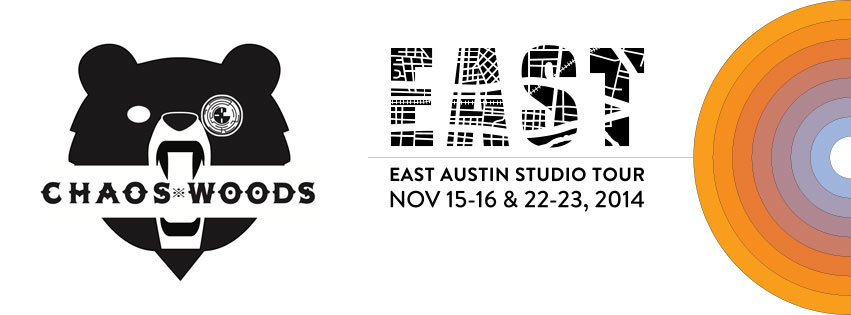 Chaos Woods garage studio will be open during the EAST Austin Studio Tour. Join us for fun activities and to learn about our process. Nov. 15, 16, 22 & 23 from 11 am - 6 pm. Free and with lots of parking.