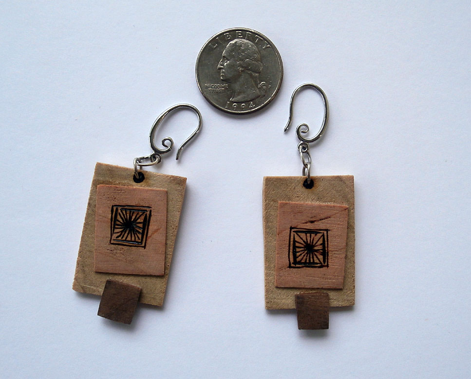 Cherry, poplar and walnut earrings