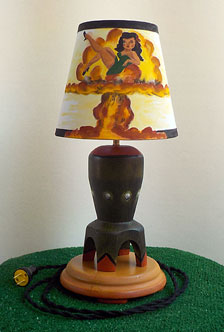 Lamp made of poplar turned on the lathe and painted with a hand painted shade.