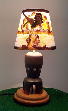 Pin-up girl lamp turned on.