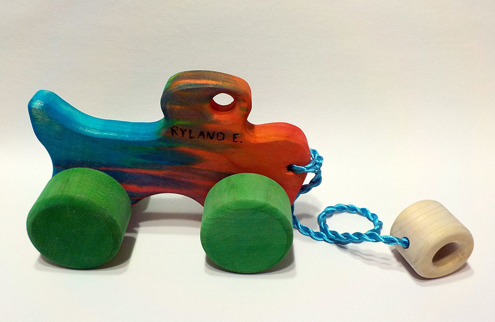 Pull truck dyed with food coloring for Ryland E.
