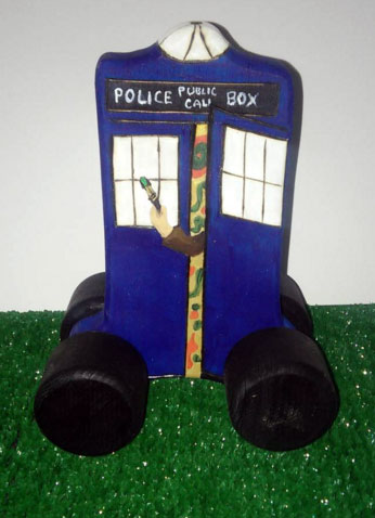 One of a kind Push Tardis. We may make another one and keep an eye out for many other new push toy creations. (I hear sasquatch is in the works).