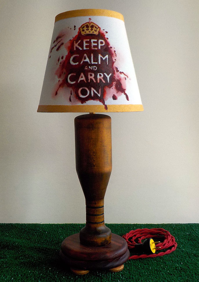 Lamp turned from Ash wood, hand stained with hand painted shade and new vintage style hardware