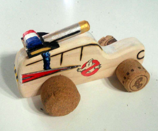 Small Ghost Buster's car with Champagne cork wheels