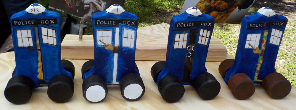 More Doctor Who police box push toys. Four new unique designs. Choose who's in your Tardis?
