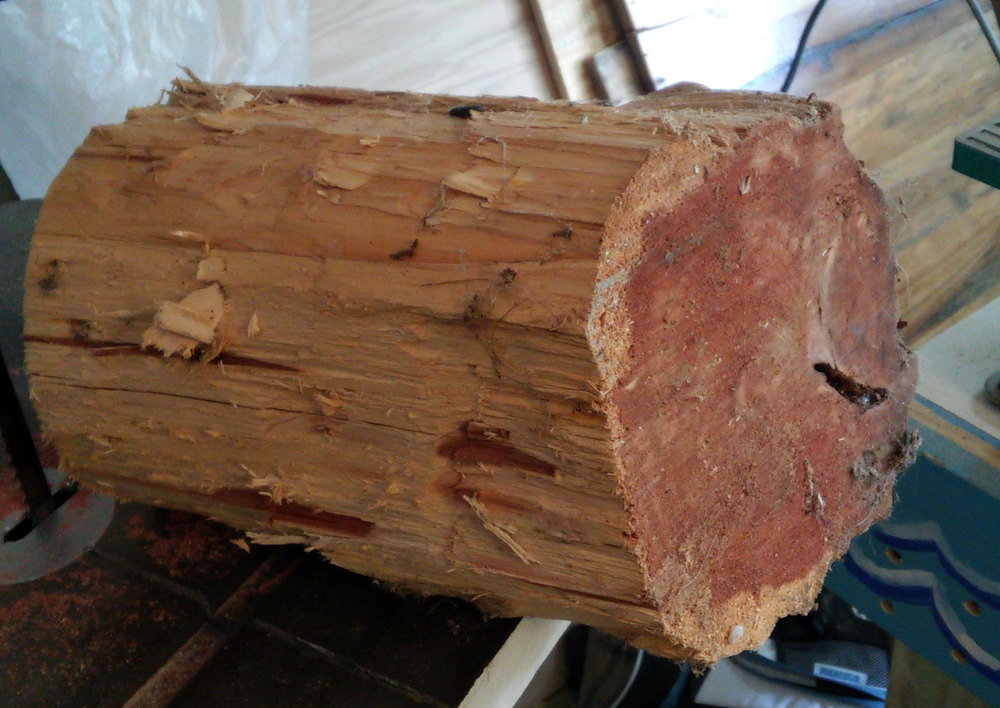 Turning this cedar log was a real challenge. We're going to need a bigger lathe!