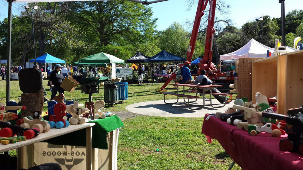 View from our booth during a mellow time at the Arbor Day Festival during the International Society of Arboriculture tree climbing competition.