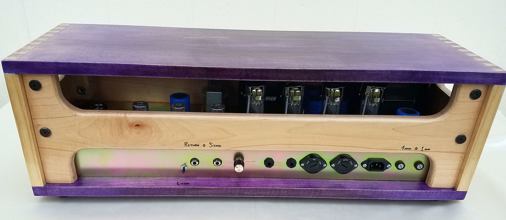 A local Austin musician and electrician built this guitar amplifier head and commissioned Chaos Woods to make a very unique one-of-a-kind box to carry it in.