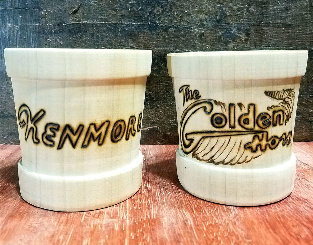 Poplar wood shot glass set, wood burnt with decorations representing the bars in the movie, Barfly, based the life of poet Charles Bukowski.