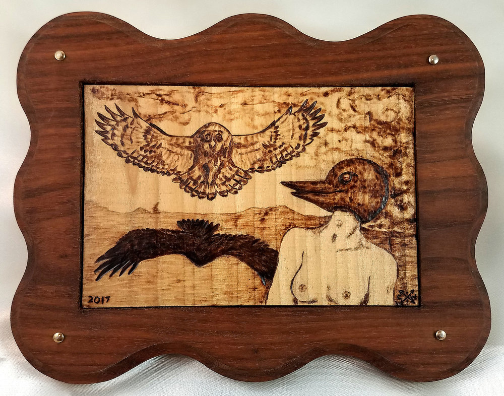 Terry handmade the perfect Walnut wood frame with brass nails for this pyrography wood burning.
