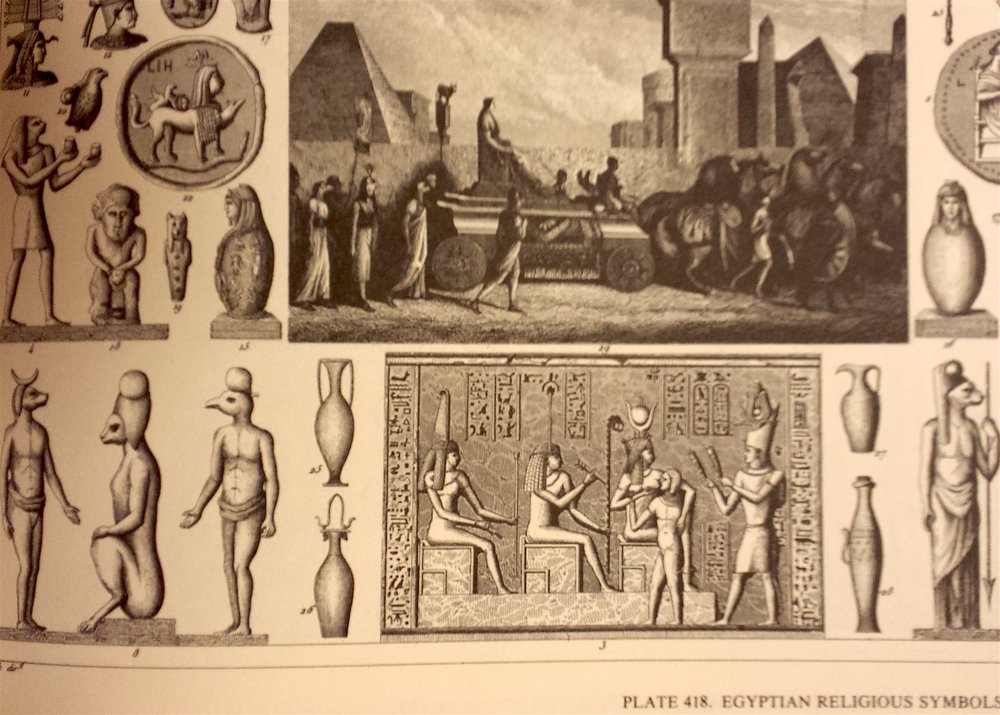 Page from the  Complete Encyclopedia of Illustration  showing Eygyptian religious symbols.