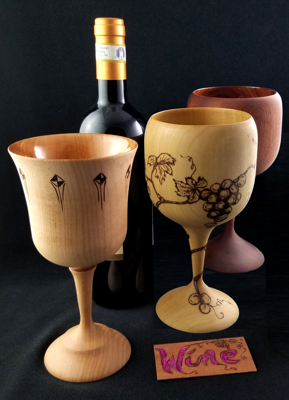 customized artist made drink ware: whiskey, liquor, liqueur, cordial, juice, champagne and wine goblets