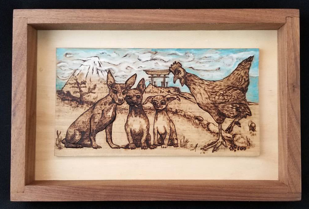 Custom for my sister, portrait of her dogs and one of her chickens on a trip to Japan.
