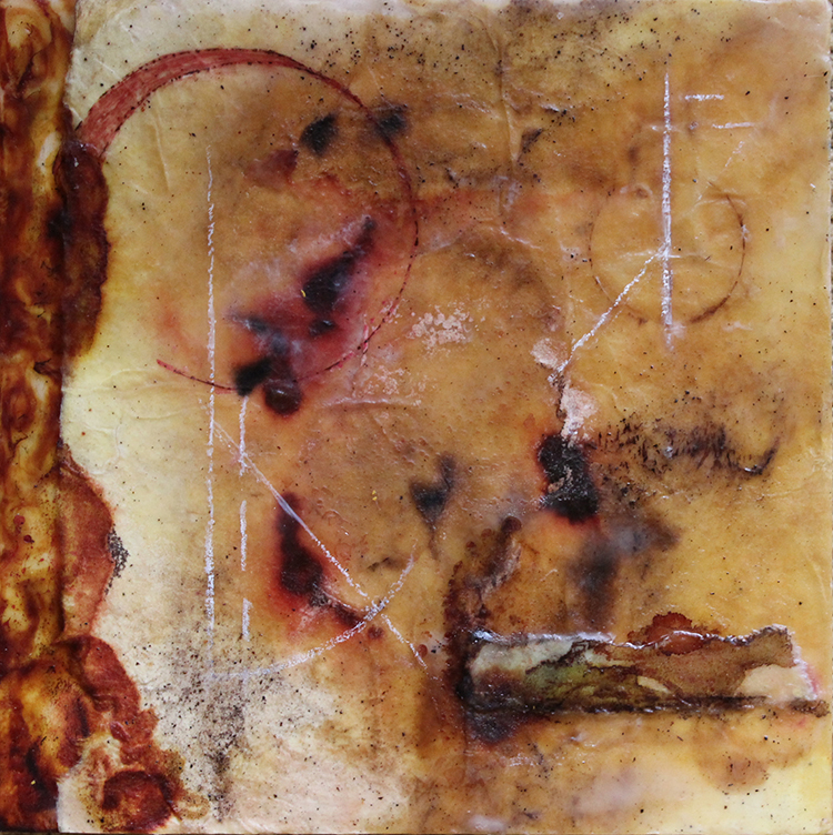 """Apogee Moon"", encaustic &mixed media on panel, 8"" x 8"""