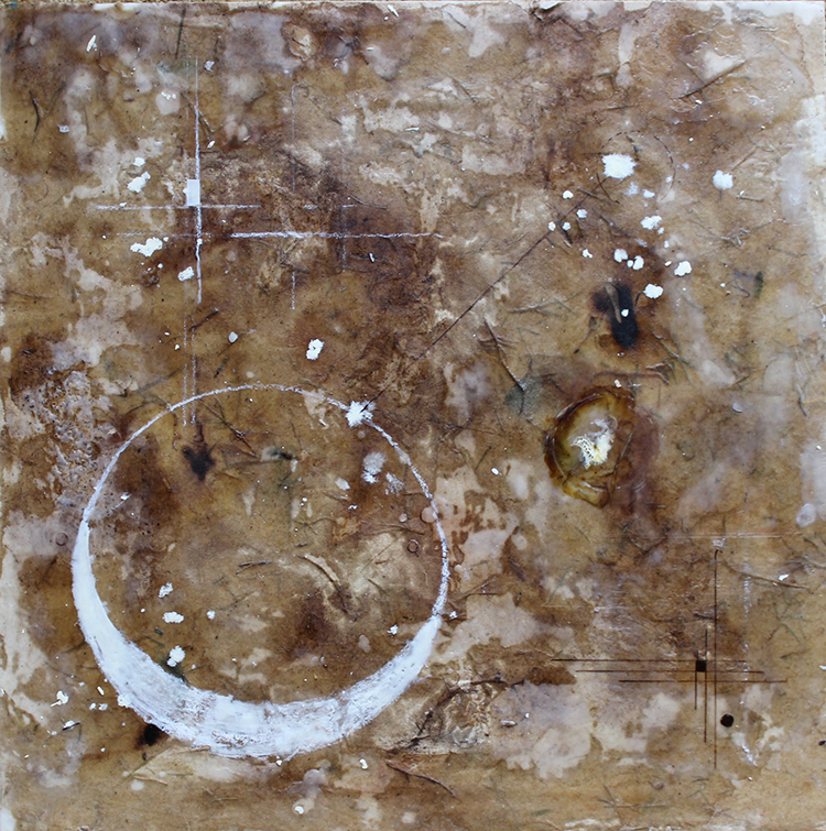 """Albedo Contemplations"", encaustic & mixed media on panel, 18 x 18"""